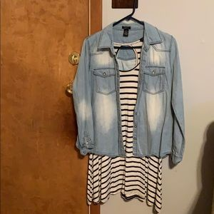 Dress with denim over shirt